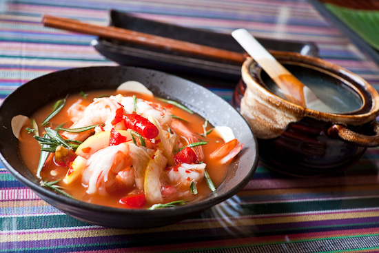 cold poached shrimp in tomato broth