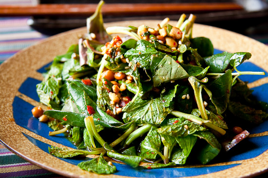 mint salad with zhe'ergen leaves and fermented soybeans
