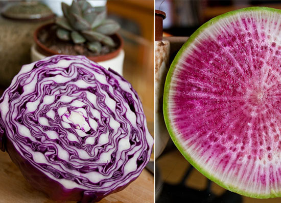 purple cabbage watermelon radish
