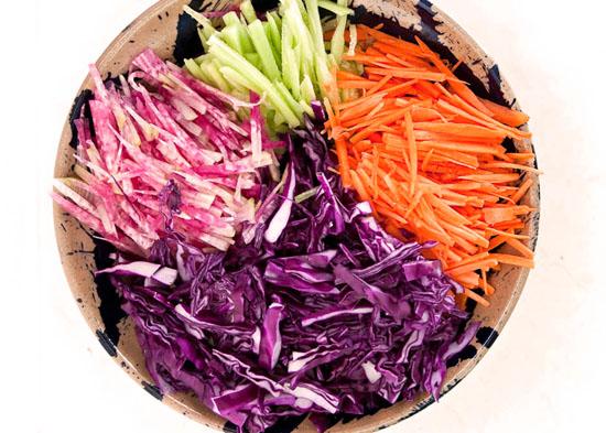 purple cabbage watermelon salad sliced