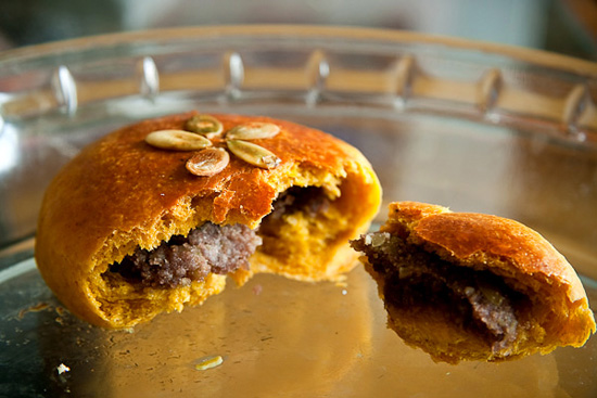 pumpkin brioche red bean bun - interior