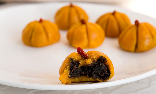 pumpkin mochi with red bean paste and black sesame filling